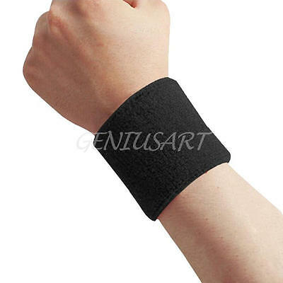 Cotton Sweatbands Wristbands Wrist Sweat Bands Gymnastics Cycling Running Black