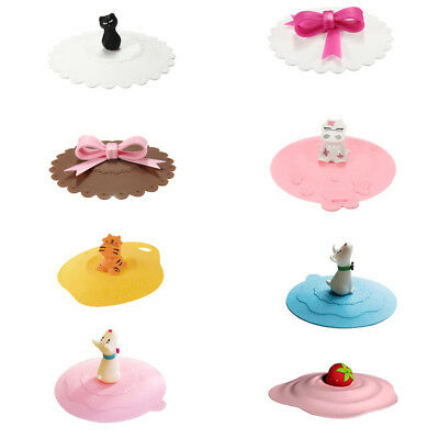Cartoon Anti-dust Silicone Glass Cup Cover Coffee Mug Suction Seal Lid Cap PK1