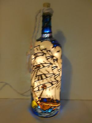 Sailboat Wine Bottle Lamp Hand Painted Lighted Stained Glass look
