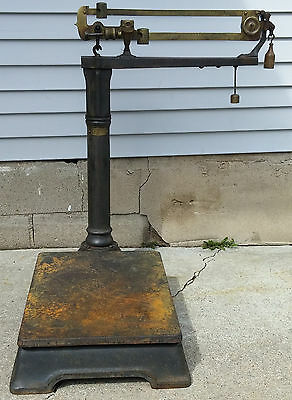 Antique Late 19th c Cast Iron & Brass Faribanks WI Cheese Factory Platform Scale