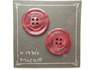 !930s Vintage Med Deco Circles Cranberry Red Coat Dress Collectible Buttons-28mm