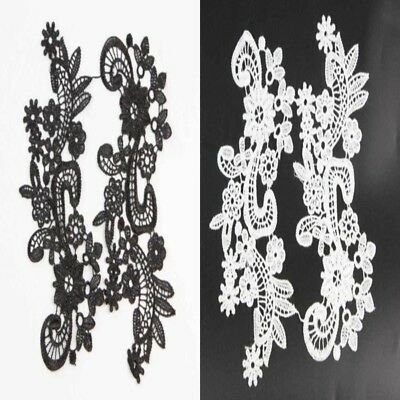 1Pair New Fabric Venise Floral Flower Motif Lace Trimmings Applique Sewing Craft
