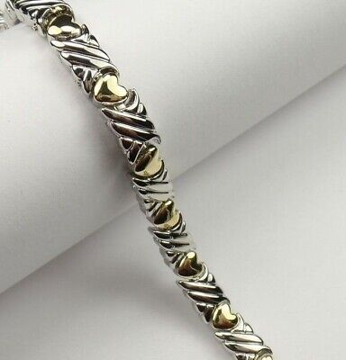 Magnetic Therapy Bracelet with Beautiful Two Tone Gold & Silver Heart Design