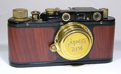 Art Camera. Zorki 1 Double Bilingual #003 black-wood Russian Leica Copy camera