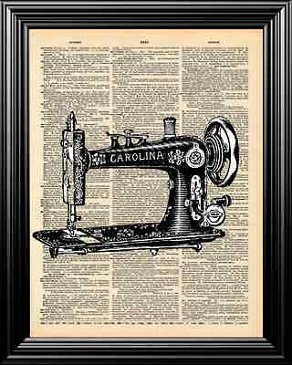 Antique Sewing Machine Altered Art Upcycled Vintage Dictionary Art Page Print