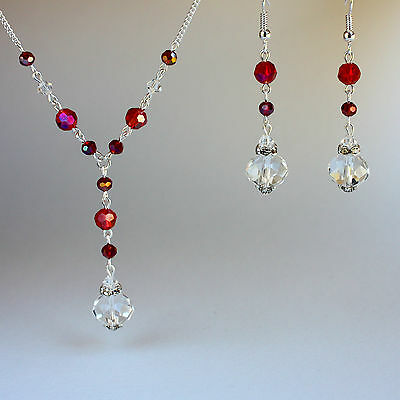 Red crystal vintage necklace long earrings wedding bridal silver jewellery set