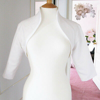 Bridal White Satin Shrug Shawl Bolero Tippet Collar Jacket Fully Lined UK 8-14