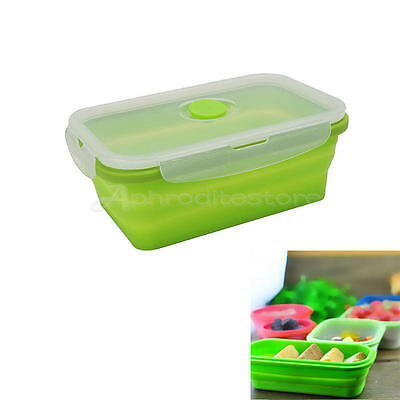 Foldable Lunch Bento Box Food Container Storage Bowl with Lid 800-1000ml New