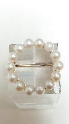 Fine 14k Yellow Gold Angels Halo Pearl Pin