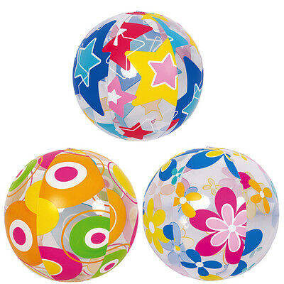 Multicolour Beach Ball Size 20'' Swimming Beach Play  Ball Inflatable 3 Patterns