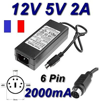 Adaptateur Alimentation Chargeur 12V 5V 2A 6 PIN Remplacement 34W-12-5