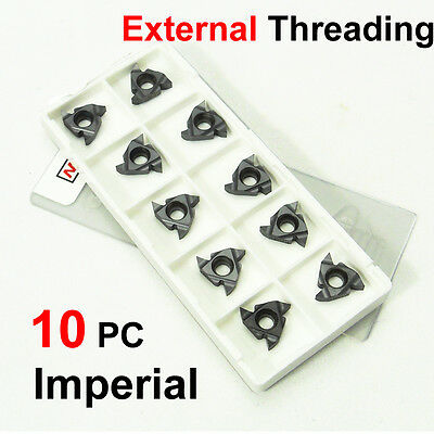 10PC Carbide Tip CNC External Threading Inserts 16ER Imperial 55 Deg Lathe Tools