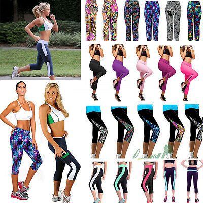Womens Exercise Leggings Running Yoga Tight Trousers Workout Fitness Sport Pants