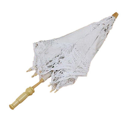 Sunny 1X Vintage White Cotton Handmade Parasol Lace Sun Umbrella Party Wedding