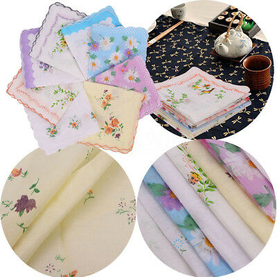 6Pcs Floral Handkerchiefs Vintage Style Cotton Quadrate Hankies Lady Women Hanky
