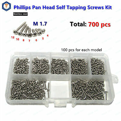 M1.7 Stainless Steel Phillips Pan Head Self Tapping Screws Assortment Kit 700pcs