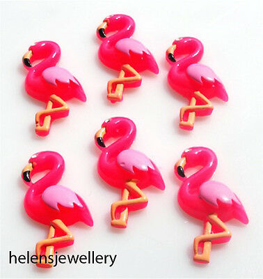 6 Gorgeous Pink Flamingo Kitsch Cabochons Kawaii Decoden - Fast Shipping