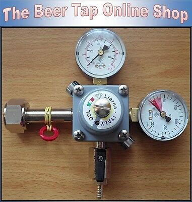 CO2 Beer Gas Regulator with Shutoff Valve & Barbed Nozzle. Home Bar - Homebrew.