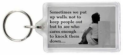 Wall Knock Down Care Keep Out Friend Mate Quotes Saying Gift Novelty Keyring