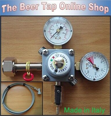 "CO2 Regulator + 3/8"" Beer Gas Line & Disconnect for Ball Lock Kegs. Corny, AEB."