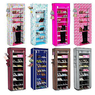 10Tier Canvas Fabric Shoe Rack Shoes Organiser Storage Cabinet Zipper Rail Stand