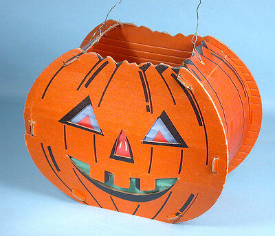 1940s Jack-o-Lantern Slot & Tab Cardboard with Original Paper Inserts 2 Faces
