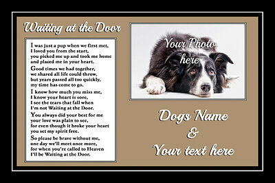 Pet Dog Memorial Personalised Waiting at the Door Rainbow Bridge sympathy gift