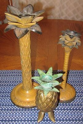 3 Metal Candle Holders Pineapple Design