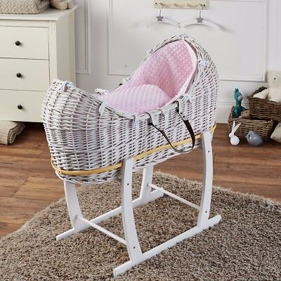 Pink Dimple White Wicker Moses Basket Pod And White Rocking Stand