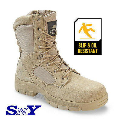 Men's Tan Work construction Tactical Boot Slip Oil Resistant Military Army Style