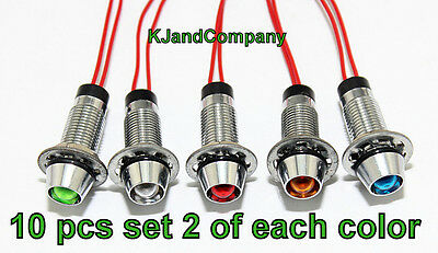 10 pcs 8mm red blue green yellow white 12V LED dash indicator lights US SELLER