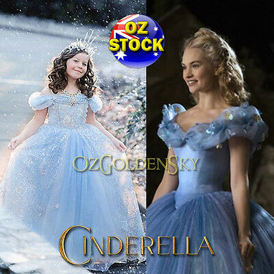 Girls Disney Cinderella Costume 2015 BallGown Birthday Tutu Princess Dress 3-10Y