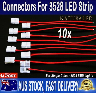 10pcs 8mm PCB board with wire Connector for 3528 LED Strip lights leds
