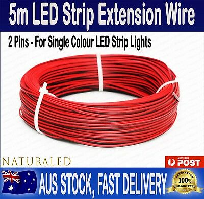 5M Meters Led Strip Light Red Black Flexible Extension Connector Wire Cable Cord