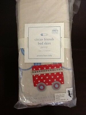 Pottery Barn Kids baby nursery Circus Friends Crib Skirt -Organic cotton