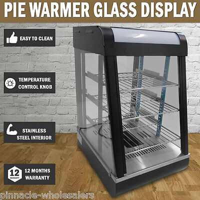 NEW Pie Warmer Hot Food Snack Glass Display Showcase Stainless Steel Interior