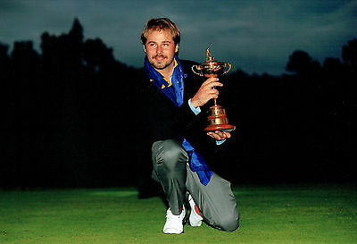 Victor DUBUISSON SIGNED Autograph 12x8 Photo AFTAL COA Ryder Cup GOLF Winner