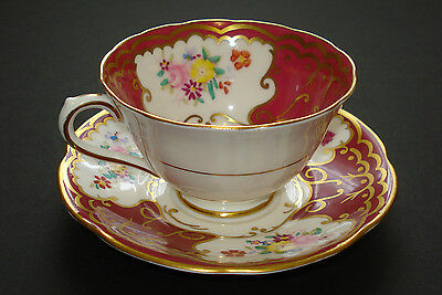 COLLINGWOODS Fine Bone China Tea Cup & Saucer - White/Red/Flowers