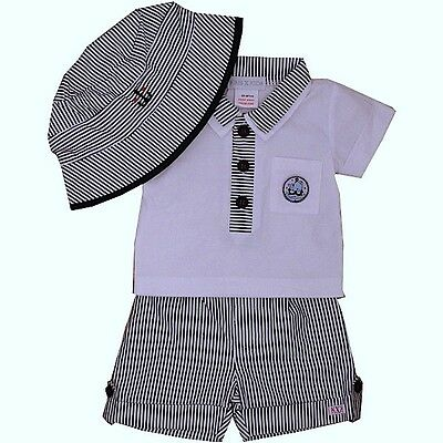 Baby Boys 3 Piece Cotton Summer Outfit/Set Polo Shirt Shorts & Sun Hat 0-9 Month
