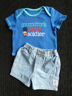 Baby clothes BOY 0-3m NEW! outfit bright blue t-shirt soldier/blue denim shorts