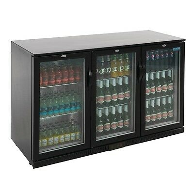 Polar Triple Hinged Door Back Bar Cooler in Black with LED Lighting 330Ltr GL004