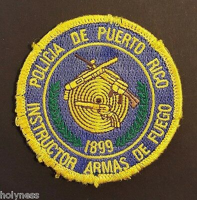 Vintage Embroidered Puerto Rico Police Patch // Firearms Instructor