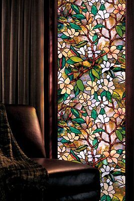 Magnolia Window UV Protector Stained Glass Art  24-by-36-Inch Decoration Decor