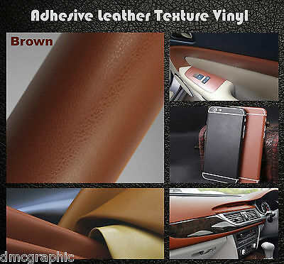 Brown Leather Texture Adhesive Vinyl Wrap Film Sticker For Body Panel Furniture
