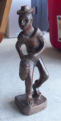 """Vintage Hand Carved Wooden Ethnic Man Playing Drum Statue 9"""" Tall"""