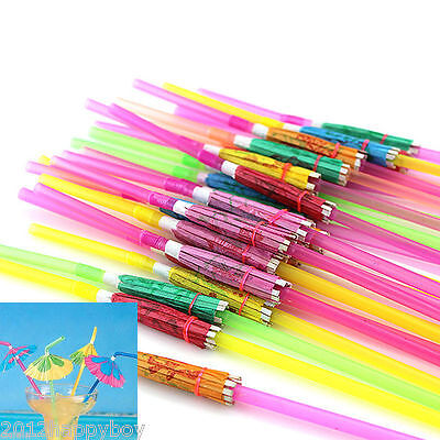20X Cocktail Umbrella Fruit Drinking Straw Hawaiian Birthday Party Stag Bar Pub