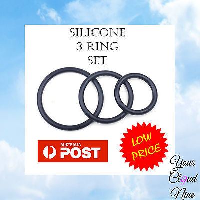 Male Personal Silicone 3 Penis Ring Kit-Impotence Erection Aid-Massager Device
