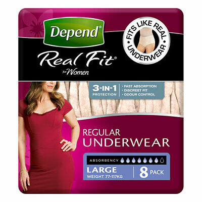 NEW Depend Incontinence Aid Real Fit Underwear Women Large 8 Pack