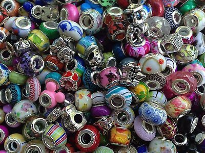 40pcs Mixed Colorful European Bracelet Charms Beads Glass Sliders Spacers Lot