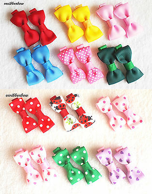 PAIR of Girls Baby Kids Children Hair Accessories Bows Alligator Clips Slides